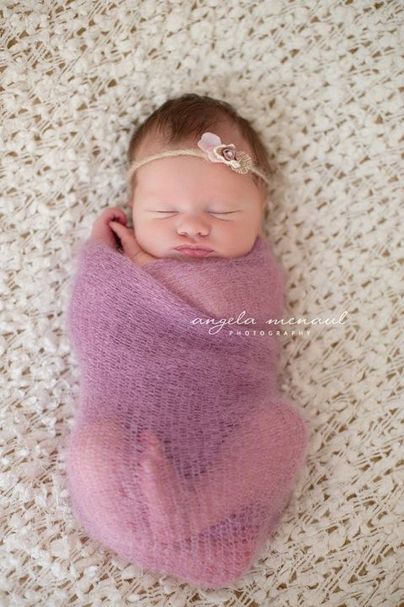 Knit baby blanket Newborn baby mohair wrap by ...
