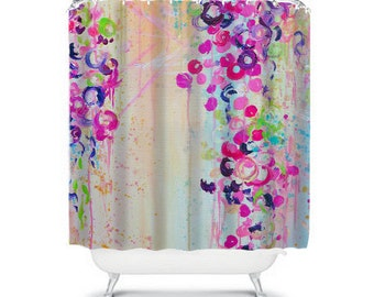 DANCE of THE SAKURA, Fine Art Painting Shower Curtain Washable Floral Home Decor Lovely Pastel Cherry Blossoms Flowers Modern Style Bathroom