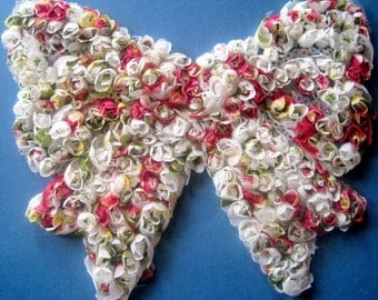 """Rolled Fabric Extra Large Bow Applique, x 1, 8"""" x 7 1/2"""" inch, for Apparel, Accessories, Costumes, Mixed Media, Romantic Crafts"""