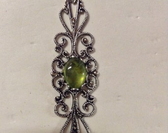 Peridot in Antiqued Silver Mounting