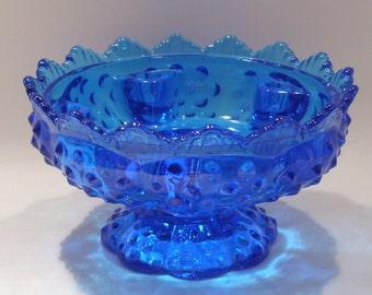 Blue Fenton Candle Bowl Vase