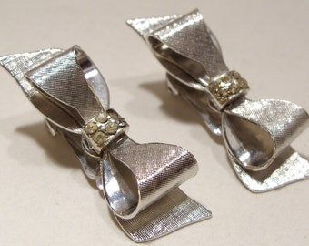 Coro Silver and Rhinestone Bow Clip Earrings