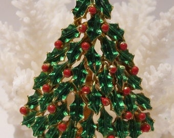 Christmas Tree Holly Pin by JJ