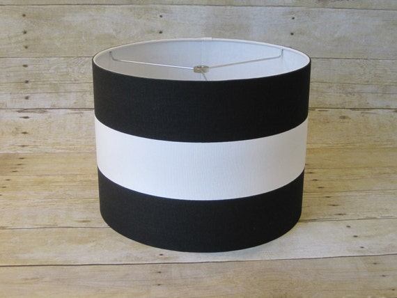 Drum lamp shade lampshade pendant black white wide stripe for Wide drum lamp shade