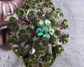 STUNNING Green Crystal Flower Bracelet