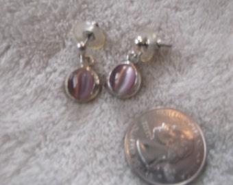 Vtg RETRO Pierced Earrings-Purple Cats Eye Dangles-R2376