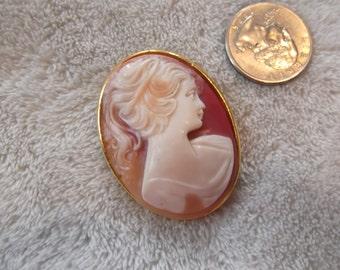 Vintage Pin- Older Cream Colored LadyCameo-P2364