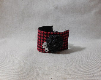 Red and Black Houndstooth Fabric Bracelet