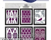 Aubergine Vintage / Modern inspired Art Prints Collection  -Set of 6 - 8x10 Prints - Featured in Aubergine White Grey (UNFRAMED)