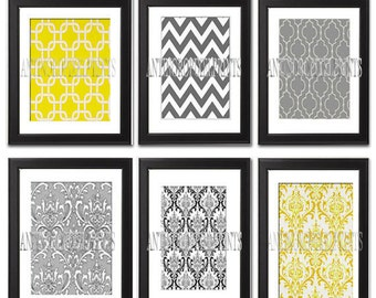 Yellow Grey Damask Wall Art Prints Collection - Set of 6 - 8x10 Prints - Featured in Greys/yellow  (UNFRAMED)
