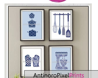 Damask Kitchen Tools Navy Blue White Art Collection  -Set of (4) - 8x10 Prints (Unframed)