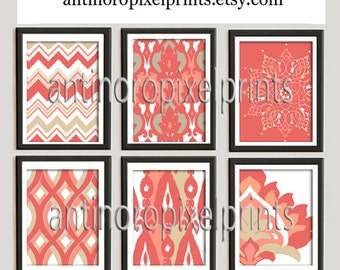 Paisley Ikat Damask Corals Prints, (6) 8x10 Prints, Custom Colors Sizes Available