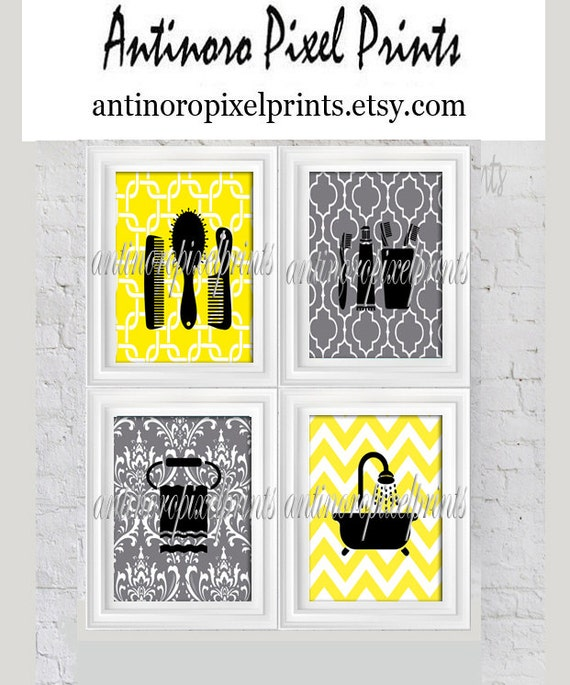 19 Collection Of Purple And Grey Wall Art: Yellow Grey Bathroom Digital Wall Art Collection Combs