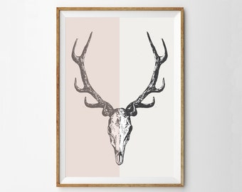 Deer Skull Antlers Wall Art Print | Midcentury Modern Home Decor | Pink Colorblock Art | Southwestern Decor | Skull Wall Art Poster