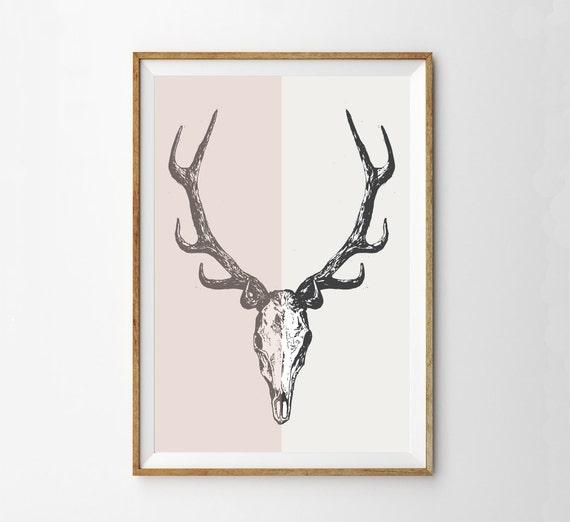 Deer Skull Antlers Wall Art Print Midcentury By Alphonnsine