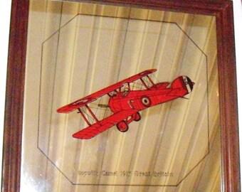Vintage Mirror Red Sopwith Camel Plane 1917, WWI airplane mirror,  pilot bar mirror, kids wall mirror, man cave decor