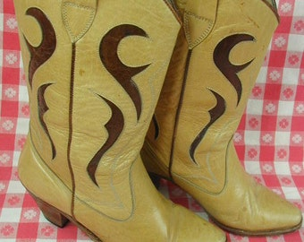 Vintage Leather Cowgirl Boots, Fancy Tops, Two Color, Made in Italy, Size 5 1/2