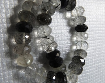 Black Rutilated Quartz 8 Inches High Quality Micro Faceted Rondell Beads Size 9X9 mm Approx