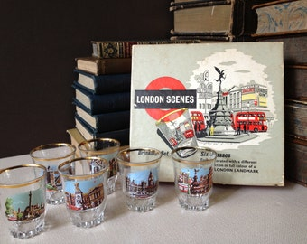 Set of 6 Shot Glasses Made in France London Landmarks Original Box