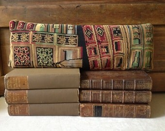 Handcrafted Cigar Pillow, Accent Pillow, Tapestry Fabric and Leather Library Throw
