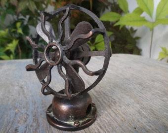 Vintage Spain ~ Miniature Copper Circular Fan Pencil Sharpener