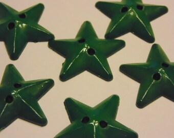 6 green star buttons, 26 mm (B8)