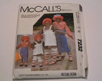 Vintage McCalls Pattern Costume 7232 Boy Girl Raggedy Ann Raggedy Andy