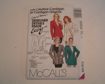 Vintage McCalls Pattern 5004 Palmer Pletsch Miss Lined Cardigan