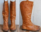 FRYE Leather Tall Boots Distressed Brown Leather Vintage Equestrian Knee High Frye Boots size 10 B