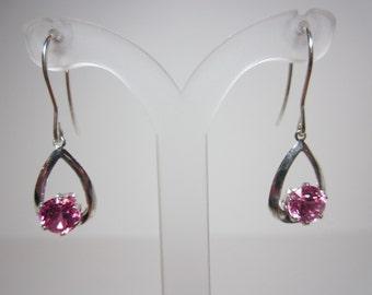 Lab Grown Pink Sapphire Earrings