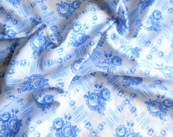 vintage blue roses fabric antique french fabric blue fabric quilting fabric patchwork fabric french floral fabric  151