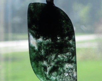 Green Dendritic Quartz Cabochon Pendant on Black Silk Cord
