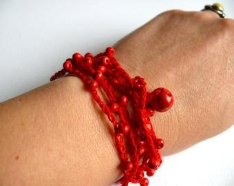 Linen crochet bracelet, crochet beaded bracelet, Bohemian crochet bracelet Birthday gift, Shabby chic bracelet, wedding romantic bracelet