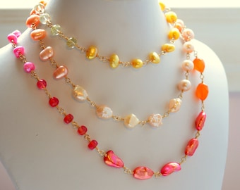 Long Gemstone Necklace, Coral Pink Orange Yellow, Citrine Rose Lemon Quartz, Freshwater Pearl Jewelry - Changing Sunrise - Free Shipping