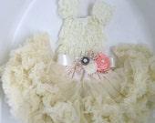 2 piece outfit  lace ruffle top beautiful Petti skirt ruffle skirt headband hair bow  girl outfit