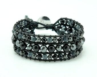Black onyx and hematite wrap bracelet.