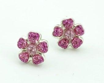 Flower rose,light rose crystal earring studs.