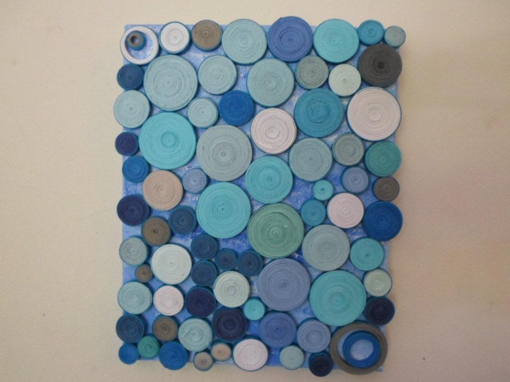 abstract circles paper sculpture original mixed media blue - 🔎zoom