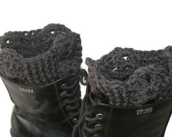 XL Boot Cuffs, Crochet Boot Toppers, Black Leg Warmers, Womens Boot Socks, Gray Boot Cuffs, Black Boot Cuffs, Boot Topper, Winter Trend