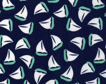 Michael Miller fabric Little Green and White SAILBOATS on Navy