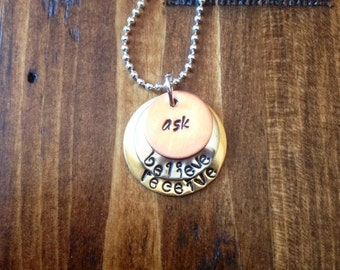 Ask Believe Receive Handstamped Layered Mixed Metals Necklace