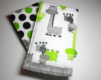 Lime and Grey Giraffes Burp Cloths (Set of 2)