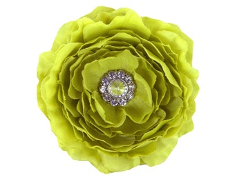 Lime Dog Collar Flower, Collar Accessory: Ruffled Rani in Willow Green