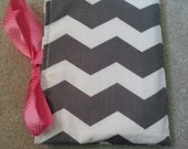 Stylish Gray Chevron. All-in-One. Clutch. Diaper Changing Pad with Pocket for Diapers & Wipes Case