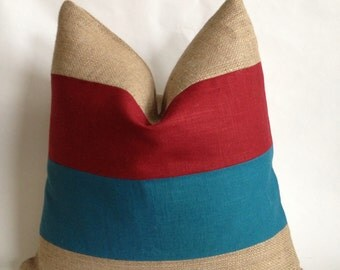 Cranberry and Turquoise Linen Fabric And Natural Burlap Pillow Cover