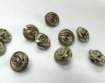 Vintage Silver color Metal Button  lot of 8 (414-6)