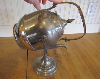 1862 H B Manning Tea Kettle, Self Pouring Teapot, Alcohol Burner, Alcohol Burner Chafing, Heated Teapot, Bowman Manning, Meridan Conn.
