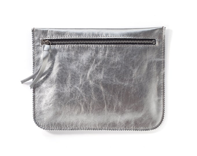 Silver leather pouch, leather wallet, small leather purse