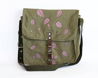Vintage Hand Painted Military Bag Green Cotton Canvas Messenger Bag, Crossbody Bag, Pink Leaves