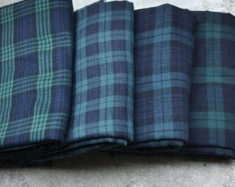 Cotton Double Gauze Black Watch Plaid - By the Yard 876400